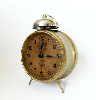 Antique 1940s KOMET One bell desk Alarm clock Czechoslovakia Old Retro table
