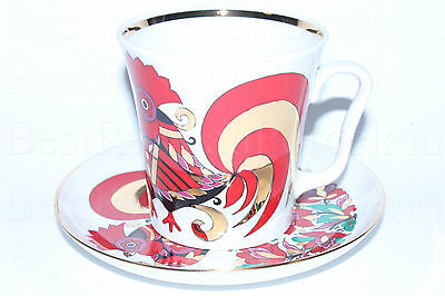 Russian Imperial Lomonosov Porcelain Mug and saucer Red Rooster 22K Gold Russia