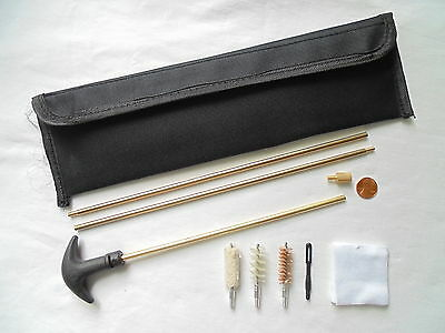 rifle cleaning kit  for .30 ca, rod, spiral brass nylon brushes, mop, pouch etc