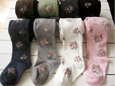 New Girls Floral Pattern Tight Thick Cotton Rich Age 3-8 Three Colours