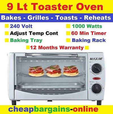 Electric Toaster Oven Maxim Cook Bake Roast Grill Reheat Toast Caravan Mini Oven