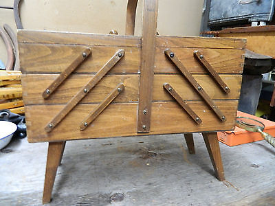 vintage wood accordion sewing box lot 184