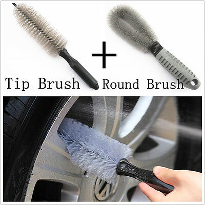 Luxury Car Wheel Rim Tire Tyre Cleaning Wash Brush Professional Tools Kit 2in1