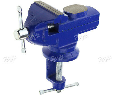60MM  Mini Bench Vice Swivel Clamp Base Portable Table Vice with Anvil Cast Iron