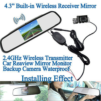 "4.3"" Wireless Car Rear view Mirror Monitor+Wireless Parking Camera Night Vision"