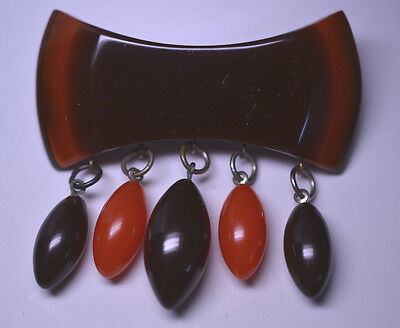 Vintage Simichrome Tested Layered Brown & Caramel Bakelite Pin W/ 5 Dangles