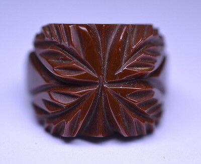 Vintage Simichrome Tested Chocolate Brown Bakelite Carved Leaf Ring Size 6