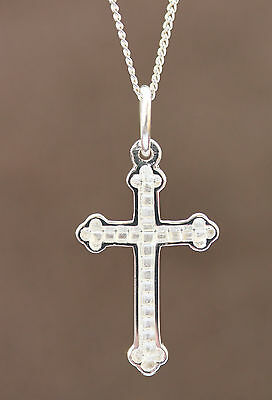 925 sterling silver small cross & necklet girls/boys gift set