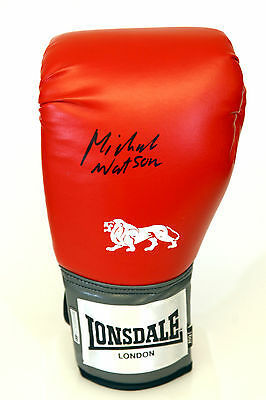 Michael Watson Signed Red 16oz Lonsdale Boxing Glove