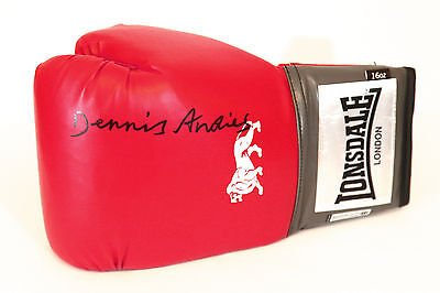 Dennis Andries Signed Red 16oz Lonsdale Boxing Glove