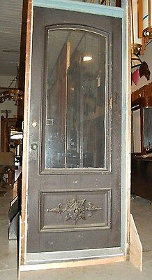 Vintage Oak Door in Jamb w/ nice Applique, 3/4 Lite,1 Panel,Home & Garden