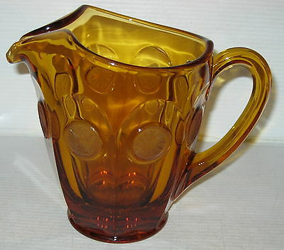 "Fostoria COIN FROSTED AMBER 6 1/2"" PITCHER"