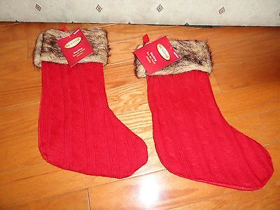 CHRISTMAS HOLIDAY RED STOCKINGS W/FAUX FUR ANIMAL PRINT TRIM. 15.5""