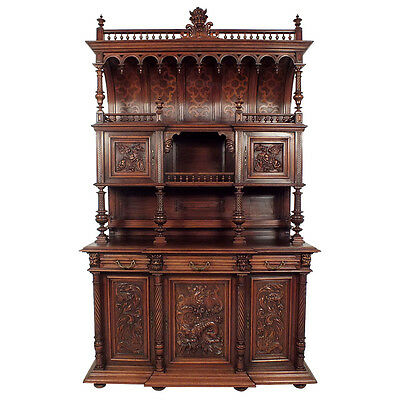 19th Century, French, Renaissance-Style, *Buffet* Display, Cabinet Free S/H -EX-