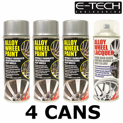E-Tech Metallic Silver and Lacquer Car Alloy Wheel Spray Paint - 4 Cans Total
