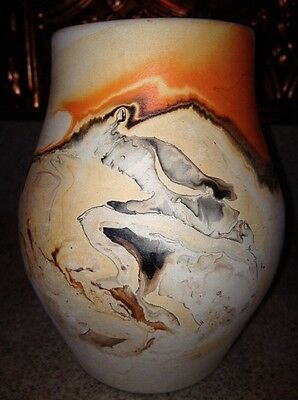Vintage Nemadji Swirl Pottery Vase Beige , Orange Brown Black Mint Gloss Inside
