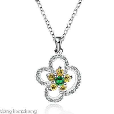 New 925 Sterling Silver Jewelry Necklace Pendant Flower Multi-color Crystal N559
