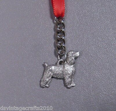 Cocker Spaniel Short Hair Pewter Pedigree Dog Christmas Ornament Made in USA