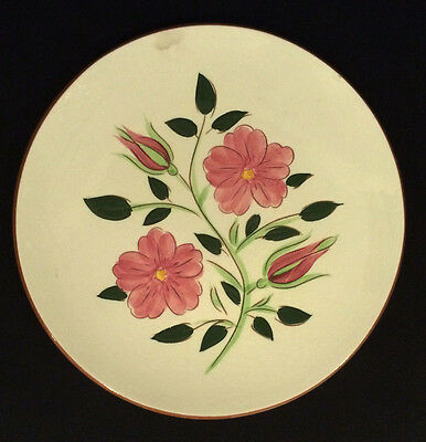 """Original Vintage Stangl Pottery 8 1/4"""" Luncheon Plate in Pink Wild Rose Pattern"""