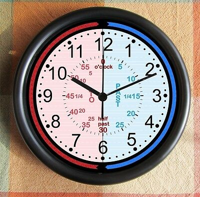 Childrens LEARN to TELL TIME Home School Kinder  Montessori 10 inch Clock! Hot
