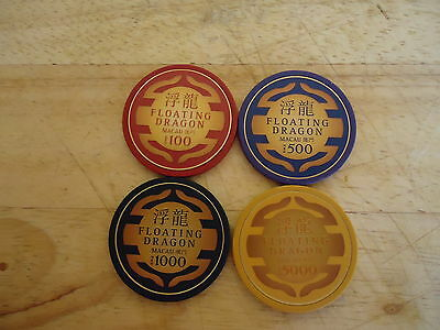 Skyfall 007 Set Of 4 James Bond Floating Dragon Casino Poker Chips