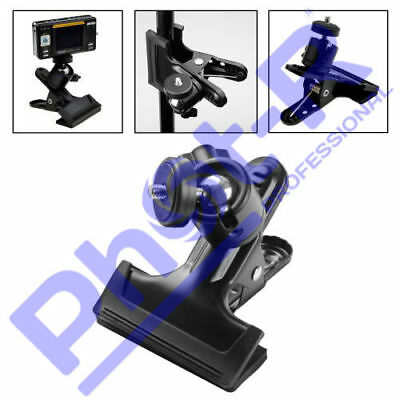"Phot-R Spring Clamp Clip 1/4"" Screw Ball Head Studio Camera Tripod Flash Bracket"