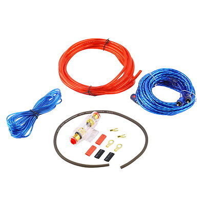 1500W 8GA Car Audio Subwoofer Amplifier AMP Wiring Fuse Holder Wire Cable Kit SC