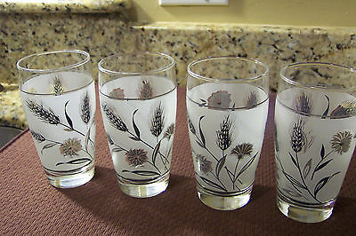 Vintage Libbey Silver Wheat Pattern Frosted TEA OR WATER Glasses, 4