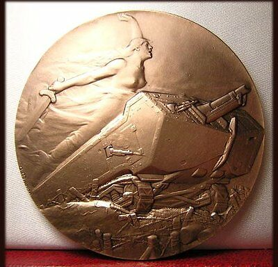 Rare Classic Wwi Art Deco Medal Nude Woman Upon Tank