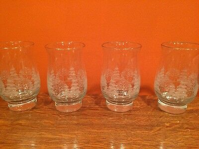 Arby's Winter Wonderland Tulip Tumbler Etched Glasses Set of 4 1980s