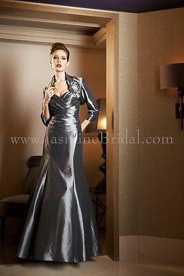 Jade Couture K4482 Mother of the BrideLux Taffeta Platinum Gown size 6P