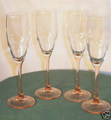 (4) ROSE STEM FLUTED CHAMPAGNES ~CLEAR BOWLS by Durand