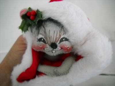 """VINTAGE 14"""" ANNALEE MOUSE in CHRISTMAS SANTA HAT 93"""