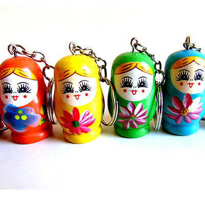 Russian Doll Keyring Wood Charm Ladies Girls Gift Toy Christmas Stocking Filler