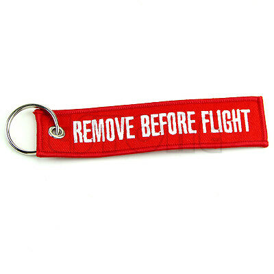 Remove Before Flight Key Chain Luggage Tag Zipper Pull Woven Keychain Embroidery