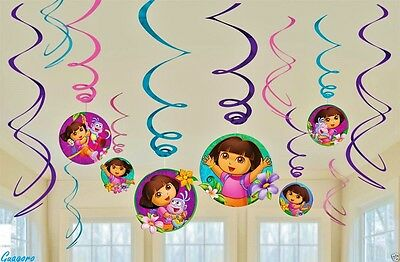 DORA THE EXPLORER 12 Pcs Birthday Hanging Swirl Ceiling Decorations Party Supply
