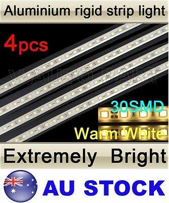 4X 12V 30 LED 5050 SMD Aluminum Rigid Strip Light Warm White Waterproof AU Stock