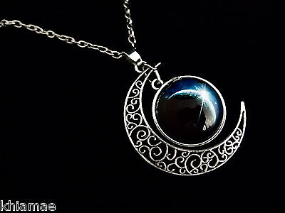 Luna Crescent Moon with Space Cabochon Necklace chain pendant wicca pagan silver