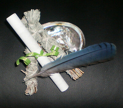 SILVER SAGE SMUDGE KIT w/ SMUDGE STICKS ABALONE SHELL FEATHER & INSTRUCTIONS