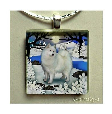 Samoyed Dog Frozen River Art 1 Inch Glass Tile Pendant Necklace With Chain