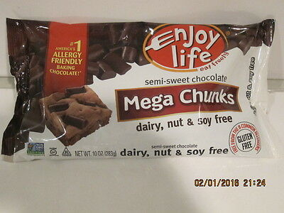 Enjoy Life Foods-Semi-Sweet Chocolate Mega Chunks - 10 oz. F/SHIP NEW SEALED BAG
