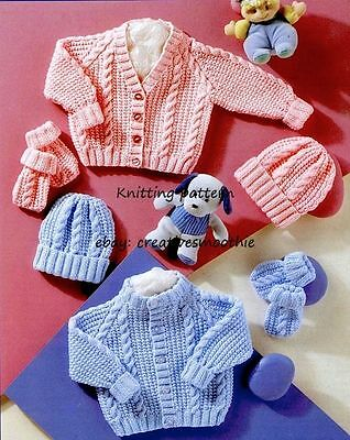 (298) DK Knitting Pattern Baby Boy Girl Cable Cardigans, Hats, Mittens, 12-22''