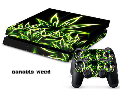 Canabis weed P027 DECAL SKIN PROTECTIVE STICKER for SONY PS4 CONSOLE CONTROLLER