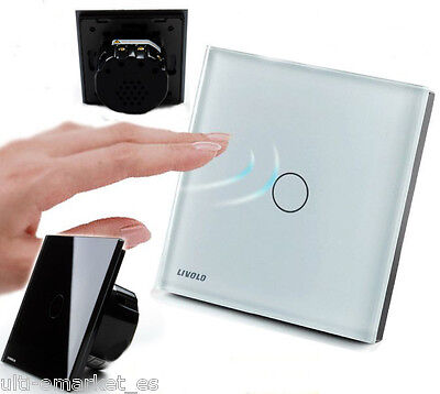 EU Led Wall Light Touch Switch Livolo, Crystal Glass- white black, 1 or 2-3 ways