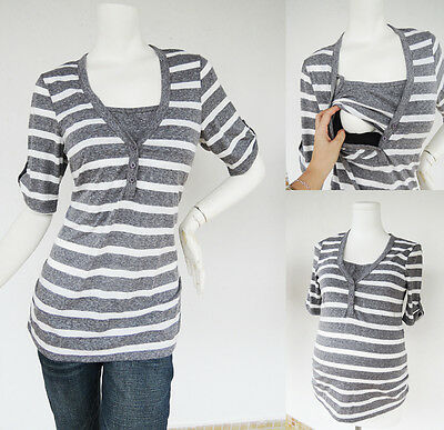 HENLEY Maternity Clothes Nursing Clothing Breastfeeding Top Grey Shirts NEW Tops