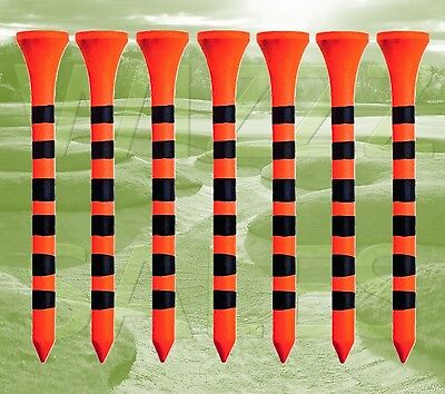 Pack of 30 Orange and Black Striped 69mm Wooden Tiger Golf Tees