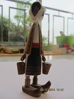 "Vintage Old Handmade Wooden Lady Carrying Buckets Doll 5"" / 13cm FREE SHIPPING"