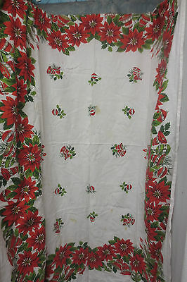 Vintage Christmas Table Cloth Red Poinsettias Bells Ornaments w/Green Gold