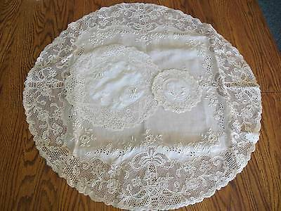 Vtg 25 Pc Set French Whitework Linen Placemats, Coasters & Table Topper  PN35