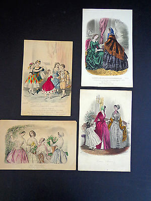 7 Antique Plates from Assorted French Fashion Magazines (1854-85) INV 2017